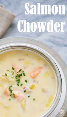 Salmon Chowder! ~ Chowder with fresh salmon, bacon, leeks, celery, potatoes, stock, and cream. ~ SimplyRecipes.com