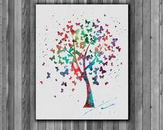 Tree of butterflies Print watercolor  Art Print by Myaquamarine