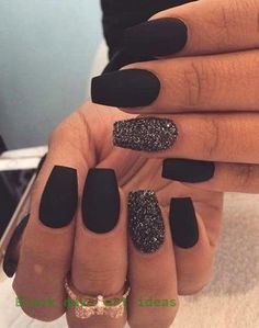 Remarkable Matte Nail Designs that will catch your eye You can find Black nails and more on our website.Remarkable Matte Nail Designs that will catch your eye Black Acrylic Nails, Matte Black Nails, Black Nail Art, Shiny Nails, Dark Nails, Fun Nails, Acrylic Art, Black Manicure, Black Polish