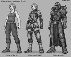 Warhammer 40000 Adepta Sororitas power armour (art by Gray Skull) Warhammer 40k Memes, Warhammer Art, 40k Sisters Of Battle, Character Art, Character Design, Sci Fi Characters, Monochrom, Space Marine, Science Fiction