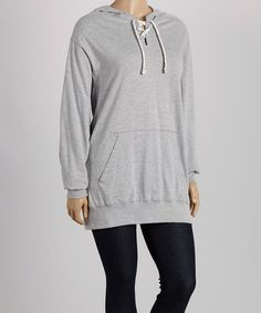 Another great find on #zulily! Oxford Gray Lace-Up  Hoodie - Plus by TROO #zulilyfinds