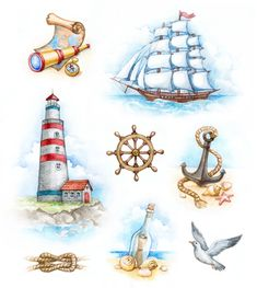 Illustration about Set of nautical watercolor illustrations. Illustration of beach, castaway, collection - 24218271 Watercolor Trees, Watercolor Background, Abstract Watercolor, Watercolor Illustration, Watercolor Paintings, Simple Watercolor, Tattoo Watercolor, Watercolor Animals, Watercolor Landscape