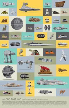 Egy poszteren az eredeti trilógia szinte összes Star Wars-járműve - GameStar.hu