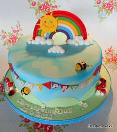 rainbow christening cake