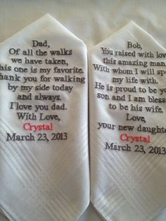 Set of Two Personalized WEDDING HANKIES Father by Aprettystitch, $35.00