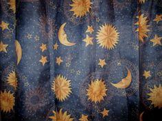 Contemporary-Shower-Curtain-Sun-Moon-Stars-Blue-Background-Gold-Design-SALE