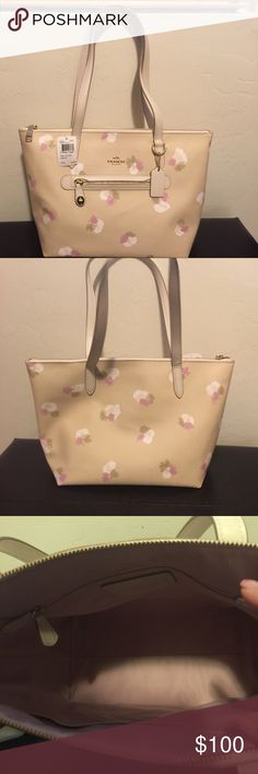 Coach Floral Taylor Tote! With FREE dust bag! Coach Taylor tote new with tags!! In a gorgeous and durable coated canvas (embossed to look like leather) and accented with charming gold tone hardware.  Lovely leather accents Roomy and ready to hold all your essentials! Pics show flexibility of the canvas; bag is flawless with no marks. This is the perfect neutral bag with a subtle Beechwood Field Floral pattern!!! FREE dust bag w/purchase!!! Smoke and pet free home. Need the closet space, so…