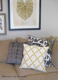 throw pillow inspiration but love the botanical print in background