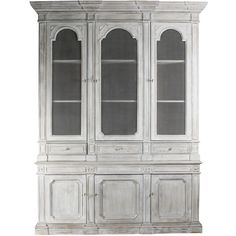 Heritage Antique White Mesh Front French Style Grand Display Cabinet ($4,308) ❤ liked on Polyvore featuring home, furniture, storage & shelves, display units, cabinet, dresser, interior, shelves, storage shelving and curio display cabinet