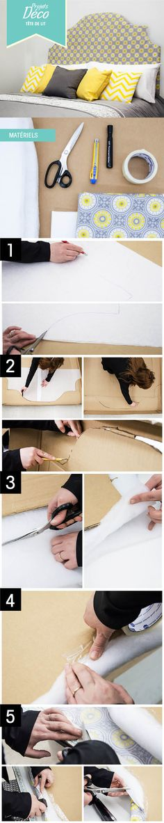 Tête de lit en carton Diy Furniture Making, Diy Cardboard Furniture, Cardboard Headboard, Diy House Projects, Cool Diy Projects, Sewing Projects, Home Crafts, Diy And Crafts, How To Make Headboard