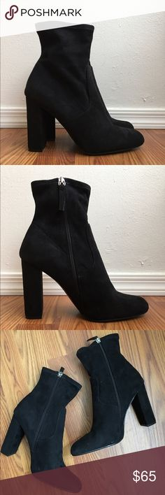 Steve Madden - Edit Bootie These on trend black booties are brand new! Top of Bootie hits an inch or two above the ankle. Perfect for going out with a 4' block-heel. Side zippers. Size 9 but runs small so would be ideal for size 8.5. (Also no stains/discoloration on the back, just some sunshine peeking through ☀️) Steve Madden Shoes Ankle Boots & Booties
