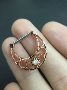 14G Rose Gold Tone Synthetic Opal Tribal Nipple by GaugesPro