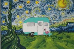 My painting of a 1966 Serro Scotty. I can paint you camper in any setting.