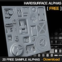 20 Free Hardsurface Height/Alphas, Jonas Ronnegard on ArtStation at https://www.artstation.com/artwork/eerww