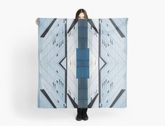 Women's Art Scarf Gift for Her Abstract Photo Scarf Blue Scarf Fashion Art Large Square Scarf Urban Photo Chic Accessory Contemporary Print Abstract Photos, Abstract Print, Antique Shops, Vintage Shops, Blue Shower Curtains, Square Scarf, Scarf Styles, Shades Of Blue, Female Art