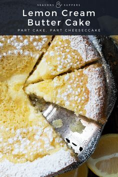 dessert recipes 174092341833648720 - This Lemon Cream Butter Cake is the love child of a buttery lemon cake and a lemon cheesecake. A perfect marriage of the two textures and flavours. Source by SeasonsSuppers Dessert Cake Recipes, Lemon Desserts, Lemon Recipes, Just Desserts, Sweet Recipes, Baking Recipes, Lemon Cakes, Coconut Cakes, Cupcakes