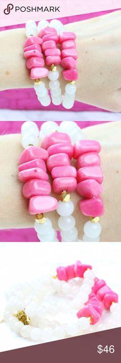 Precious Pink Stone Bracelets Gorgeous bracelet set. Polished over Twilight Gypsy Collective Jewelry Bracelets