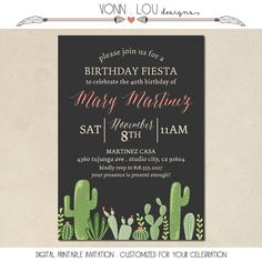 cactus invitation succulents fiesta baby by VonnLouDESIGNS
