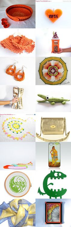 Color Me Happy by Julia on Etsy--#fibernique #etsy #treasury #orange #bowl #coral #basket #earrings #scarf #summer #fun #croc Pinned with TreasuryPin.com