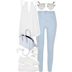 Outfit with light blue jeans by ferned on Polyvore featuring River Island, Sandro, Jil Sander, Givenchy, Topshop, Monica Vinader and Prada