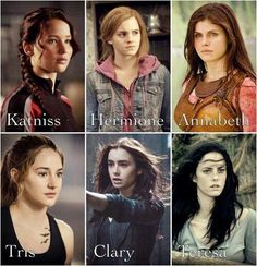 The Hunger Games (Katniss), Harry Potter (Hermione), Percy Jackson (Annabeth), Divergent (Tris), The Mortal Instruments (Clary), The Maze Runner (Teresa)