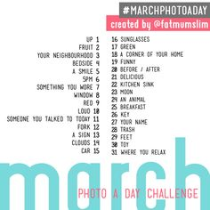 Yeah, March is almost over.  But I can use the lists and take more than one picture a day.