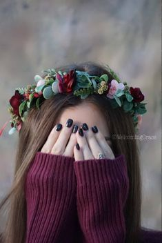 Flower crown wedding, burgundy floral crown, blush flower crown, greenery maroon… - All For New Hairstyles