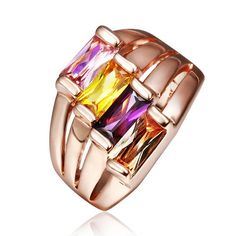 Cheap gold rings for women, Buy Quality rose gold ring directly from China gold ring Suppliers: USTAR Colorful Rhinestone Rose Gold Rings for women Copper band Aneis Made with Genuine Austrian Crystals Anel Bague Gold Plated Rings, Copper Rings, Gold Rings, Bagan, Silver Wedding Decorations, Mode Rose, Cat Ring, Charm Rings, Cubic Zirconia Rings