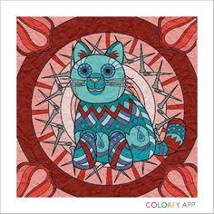 Blue cat on paper 12-7-15