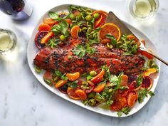 Buttery Castelvetrano olives, fresh spring herbs, and bright citrus make sockeye salmon shine in this weeknight fish recipe. Salmon Recipes, Fish Recipes, Great Recipes, Seafood Recipes, Salmon Food, Recipe Ideas, Favorite Recipes, Tapas, Sockeye Salmon