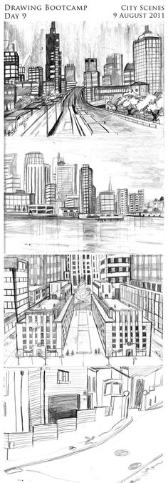 Architecture Drawing Lessons korbartwuhs.wordpress surrealist perspective drawing of a city
