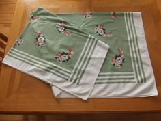 Vintage White and Green Table Cloth with by #PaulasVintageAttic, $12.99  #VintageTablecloth #VintageLinens