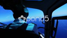 Flight over the sea - pilot watching the blue ocean Stock Footage ,