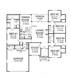 Home Plans HOMEPW10813 - 2,700 Square Feet, 4 Bedroom 3 Bathroom ...