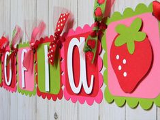 Strawberry Birthday Banner Strawberry Name Banner Pink and