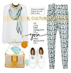 """R.Culturi scarves"" by mada-malureanu ❤ liked on Polyvore featuring мода, Sandwich, Acne Studios, Anya Hindmarch, Fendi и Rculturi"