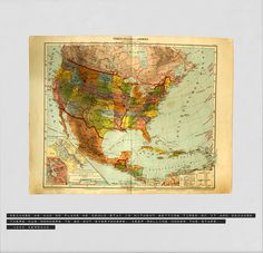 1917 Vintage Map of USA & Central America with the Inspirational Travel Quote by Jack Kerouac
