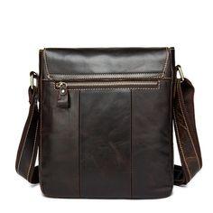 Men's Leather Bag, Vintage Shoulder Bag Top Grain Leather Vertical Messenger Bag 9040