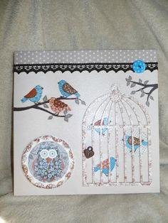 """Petit Tableau Déco Thème """"Oiseaux"""" toile sur châssis, peinture acrylique, serviettage, cage bois, ruban et bouton fantaisie... 30x30cm Ƹ̵̡Ӝ̵̨̄Ʒ Nouillelfique"""