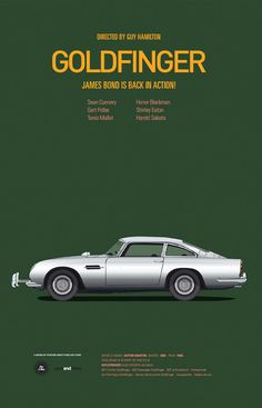 Aston Martin DB 5 from Goldfinger #moviecarposters