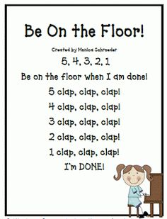 Classroom Freebies: Be on the Floor: A Transition Song
