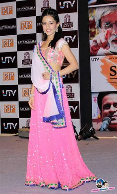 Amrita Rao in Pink & White #Lehenga at the Satyagraha Movie Promotion.