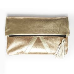 Gold Leather Clutch Metallic Fold Over Clutch by gmaloudesigns