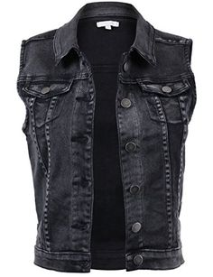 Designer Clothes, Shoes & Bags for Women Black Denim Vest, Denim Vests, Sleeveless Denim Jackets, Denim Waistcoat, Coats For Women, Clothes For Women, Outerwear Women, Vest Jacket, Stylish Outfits