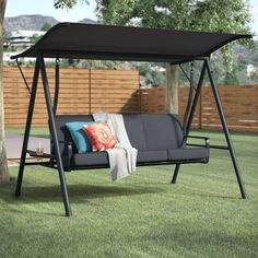 Perfect swing for backyard or patio! Andover Mills Marquette Cushion Porch Swing with Stand Porch Swing Frame, Porch Swing With Stand, Patio Swing, Swing Seat, Canopy Outdoor, Outdoor Decor, Outdoor Swing Cushions, Outdoor Spaces, Backyard Swings
