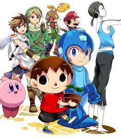 Great illustration for Smash 4.  I like how the characters in the background are trying to welcome Megaman, Villager, and Wii Fit Trainer almost.  The level of detail on Link and Pit is really cool.  The shadows fight nice, but the background doesn't really work as being just plain white.