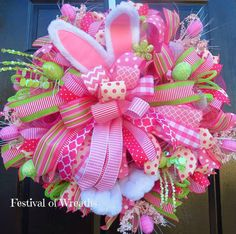 Easter Deco Mesh Wreath  Easter Bunny Door by FestivalofWreaths