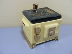 Vintage Ceramic/Pottery Stove shaped Housekeeping money bank