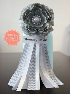 Gray Chevron Corsage. Flower Corsage. Mommy to by simplycutieful