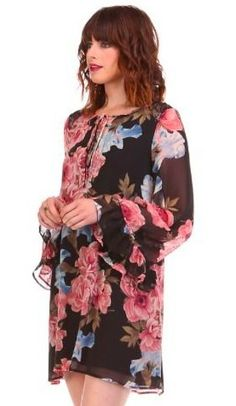 Bloomin' Bell Sleeve Shift Dress Available at Bohopink.com!